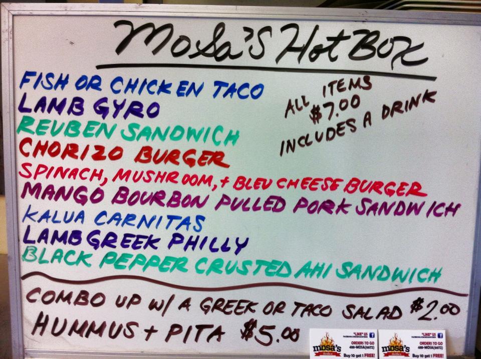 mosa's hotbox menu
