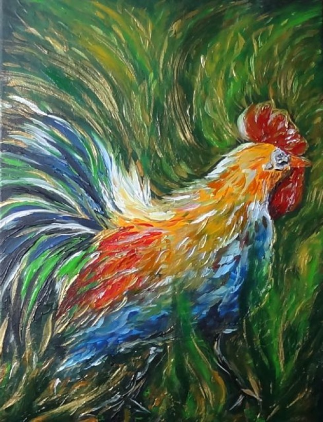Golden Green Abstract Rooster Donation
