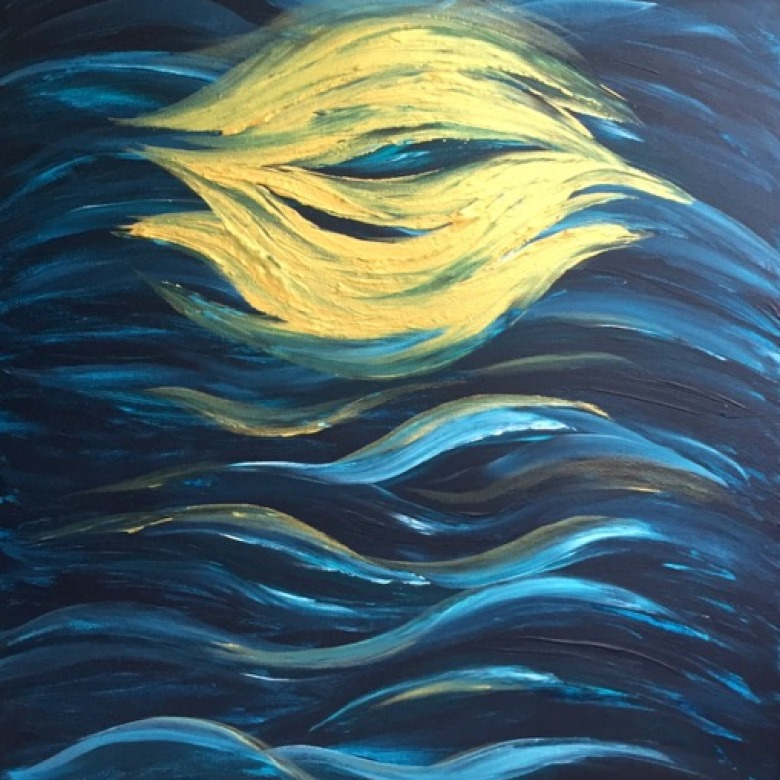 Abstract Gold Moon on Water