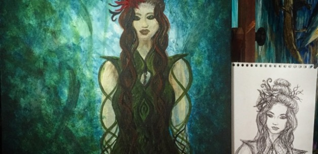 Artist Date: Transforming Infinity Goddess Sketch into Painting (video)