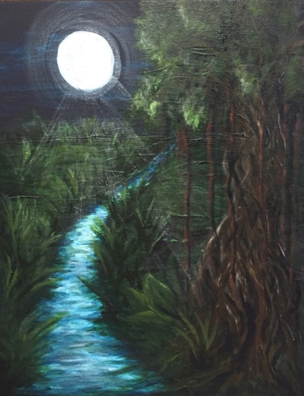 Moonlit Jungle River
