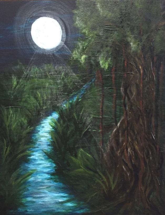 Moonlit Jungle River