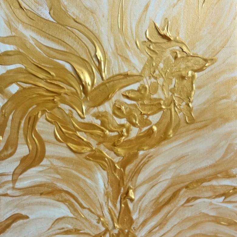 Abstract Golden Rooster