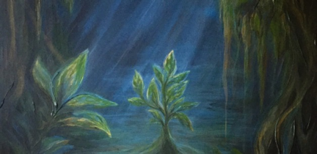 Commission Painting Process & Story of a Moonlit Jungle Scene
