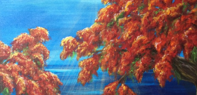 Paintings Inspired by the Beautiful Flame Trees on Guam