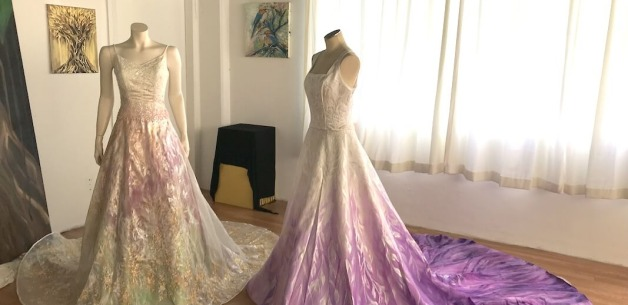 Guam Custom Design Painted Wedding Dresses