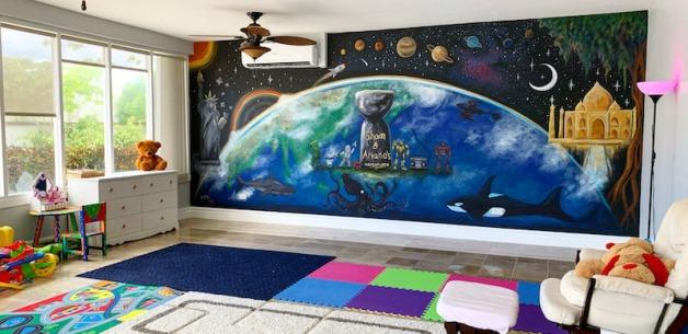 Playroom Earth Mural 1