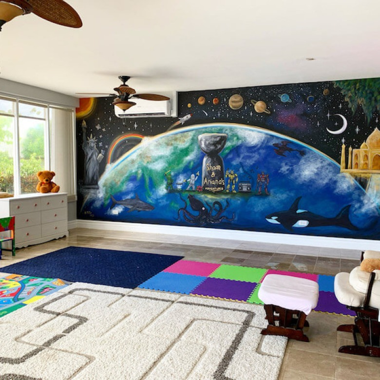 Playroom Earth Mural 1