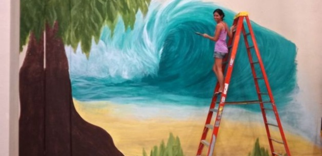 Mural: Wave & Tree Art In Progress at iFit Guam Warehouse