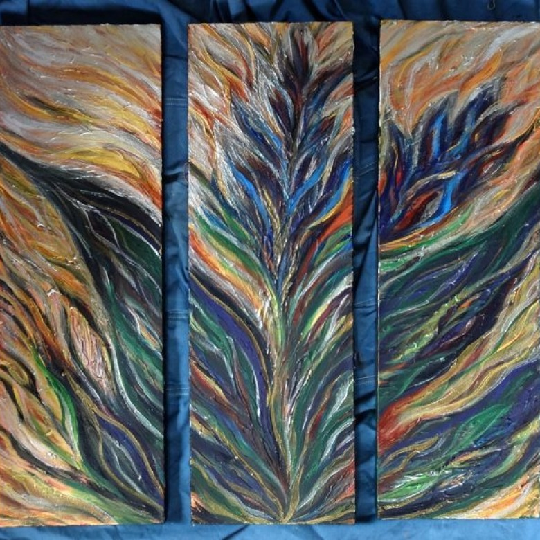 3-Panel Abstract Floral