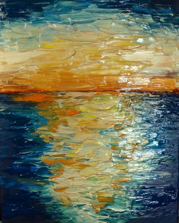 Blue & Gold Abstract Sunset