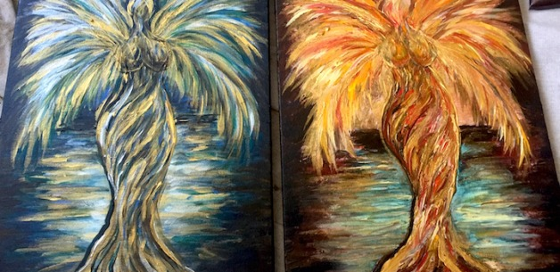 Coconut Tree Goddesses: Twin Paintings